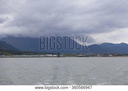 Seward City Center And Waterfront In Fall, Seward, Kenai Peninsula, Alaska, Usa. Seward Is A City Lo