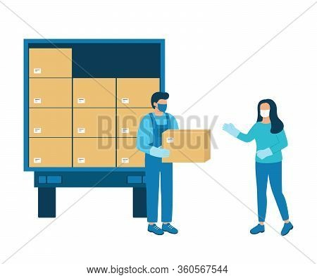 Loader Man Gives Buyer Box Of Goods. Unloading Or Loading Cargo Truck. Handing Over Goods, Humanitar