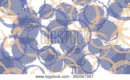 Modern Hand Drawn Circle Stamps Textile Print. Round Shape Splotch Overlapping Elements Vector Seaml