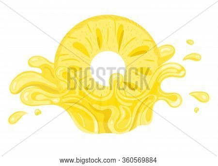 Fresh Pineapple Yellow Juice Splash Burst Isolated On White Background. Summer Fruit Juice. Vector I