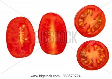 Fresh And Raw Red Cherry Tomatoes, Cut In Half. With Water Drops. Isolated On White Background.