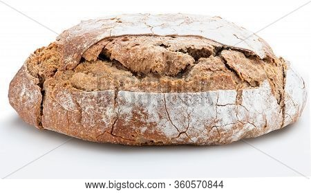 Crispy Rustic Homemade Bread. Side View Of Whole Rye Bread. Isolated On White Background.