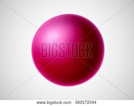3d Red Ball Isolated On White Background. Bright Design Element In Shape Of Sphere. Vector Illustrat