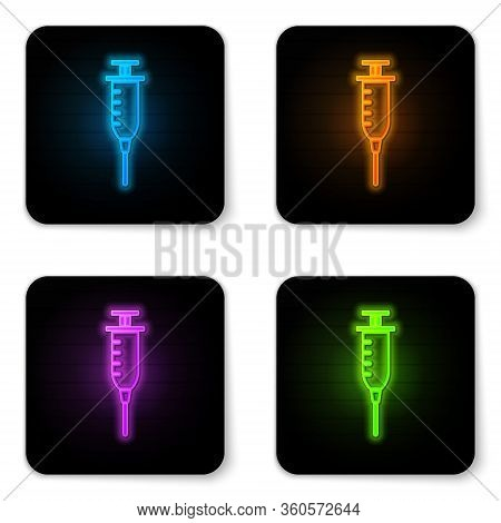 Glowing Neon Syringe Icon Isolated On White Background. Syringe For Vaccine, Vaccination, Injection,