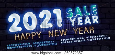 2021 Happy New Year. Silver Design Metallic Numbers Date 2021 Of Greeting Card. Happy New Year Banne