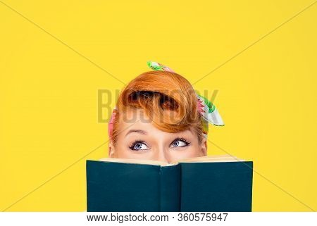 Picture Of Cropped Image Close Up Head Shot Of Pin Up Retro Hair Style Woman Holding Green Book Look