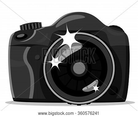 Slr Camera With Lens Close-up On A White