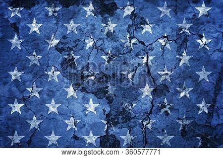Usa Flag Stars On Grunge Concrete Wall Background