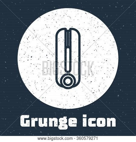 Grunge Line Curling Iron For Hair Icon Isolated On Grey Background. Hair Straightener Icon. Monochro