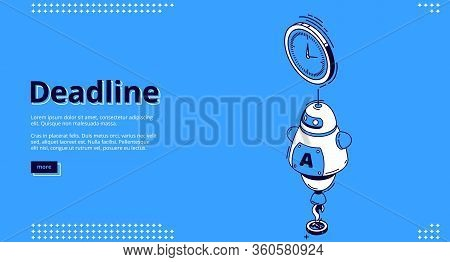 Deadline Banner. Concept Of Important Event On Due Date And Countdown Bill. Vector Landing Page Of P