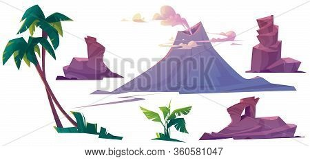 Volcano With Smoke, Rocks And Palm Trees Isolated On White Background. Vector Cartoon Set Of Volcani