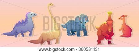 Dinosaurs Clipart. Cute Cartoon Triceratops, Parasaurolophus, Brachiosaurus And Stegosaurus. Vector