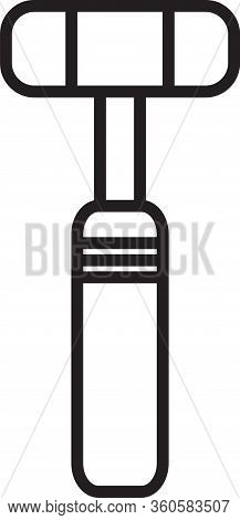 Black Line Neurology Reflex Hammer Icon Isolated On White Background. Vector Illustration