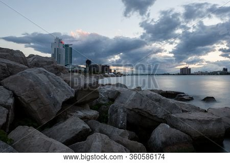 Twilight Scene Of Windsor Ontario With Detroit River View