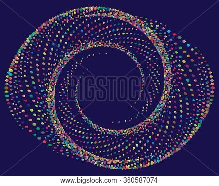 Dotted Halftone Vector Spiral Pattern Or Texture. Stipple Dot Backgrounds With Color Circles
