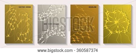 Biotechnology And Neuroscience Vector Covers With Neuron Cells Structure. Marble Waves Net Textures.