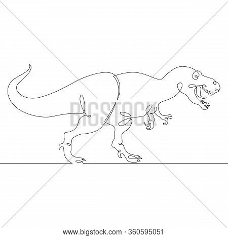 One Continuous Single Drawn Line Art Doodle Dinosaur, Reptile, Jurassic, Animal, Monster, Extinct, W