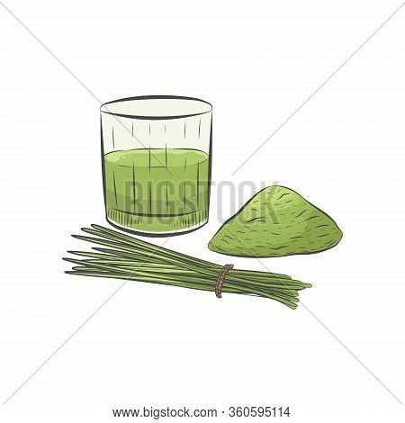 Wheat Grass Powder And Juice Isolated On White Background. Healthy Green Super Food. Wheatgrass Clos