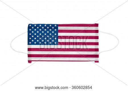 Pp Non-woven Disposable Medical Face Mask Isolated On White Background. Medical Mask Toned In Usa Fl
