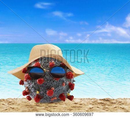 Coronavirus molecule at the beach in summer holiday truce.