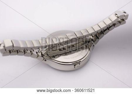 Biel, Switzerland 31.03.2020 - The Closeup Of Calvin Klein Woman Watch Stainless Steel Case Stainles