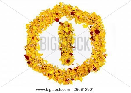 Letter I In Spring Flower Petal Hexagon. Marigold Petal Alphabet Isolated On White Background.