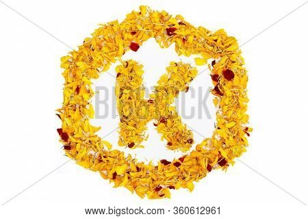 Letter K In Spring Flower Petal Hexagon. Marigold Petal Alphabet Isolated On White Background.