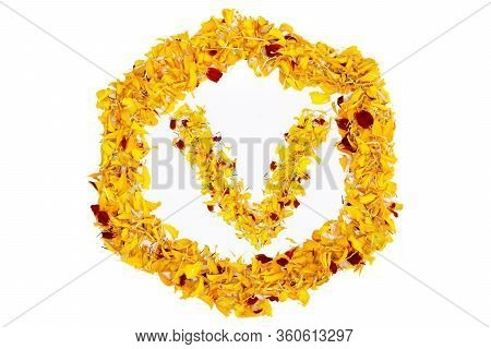Letter V In Spring Flower Petal Hexagon. Marigold Petal Alphabet Isolated On White Background.