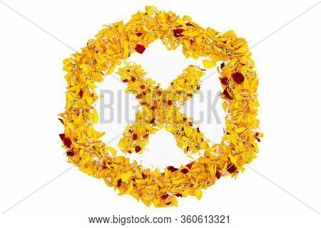 Letter X In Spring Flower Petal Hexagon. Marigold Petal Alphabet Isolated On White Background.
