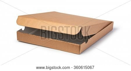 unlabeled paper pizza box isolated on white background