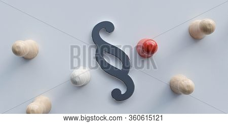 Two Conflicting Conflict Parties With Paragraph Symbol Symbolizing Conflict Law Justice 3d Render Il