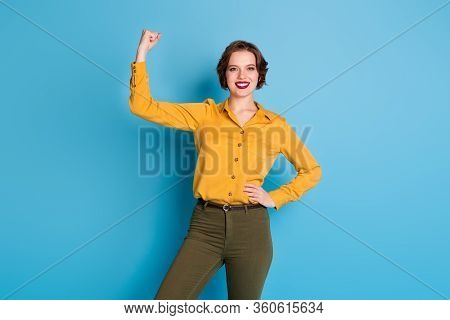 Photo Of Pretty Amazing Lady Hold Raise Biceps Hand Arm Showing Perfect Biceps After Gym Training St