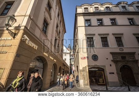 Prague, Czechia - October 31, 2019: Kozna Ulice, A Narrow Street Of The Old Town Of Prague, Called S