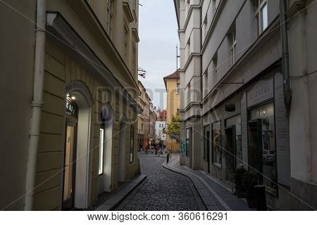 Prague, Czechia - November 3, 2019: Michalska Ulice, A Narrow Street Of The Old Town Of Prague, Call