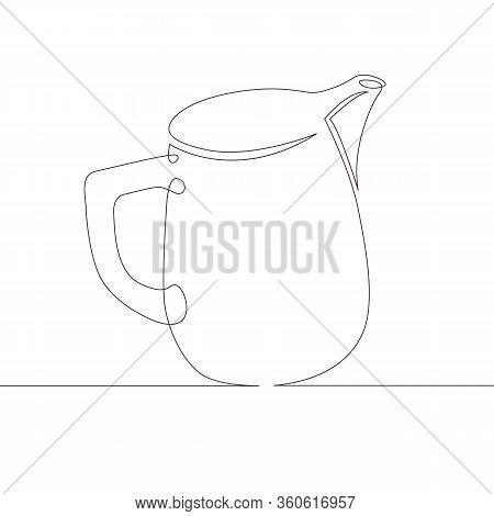 One Continuous Single Drawn Line Art Doodle Milk, Drink, Dairy, Jug, Creamer, Cream, Food . Isolated