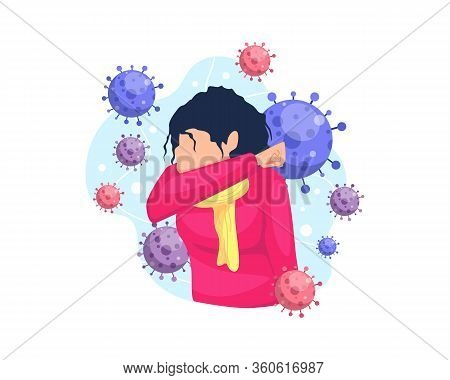 Vector Illustration Covering Mouth And Nose When Coughing And Sneezing. Concept Of Ethical Illustrat