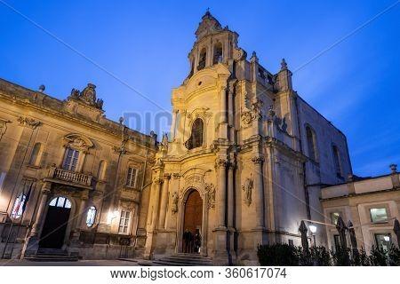 Ragusa, Sicily - February 13, 2020: Church Of Saint Joseph (chiesa Di San Giuseppe) In Ragusa, Sicil