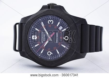 Ibach, Switzerland 31.03.2020 - The Close Up Of Victorinox Man Watch Carbon Case Rubber Strap Blue C