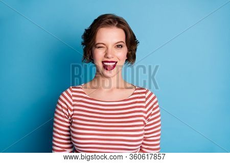 Photo Of Beautiful Pretty Cheerful Lady Playful Coquettish Person Sticking Tongue Out Mouth Blinking
