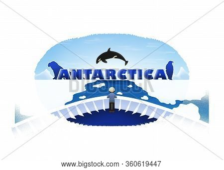 Logo Of A Ferry Sailing Through Ice Sheets From Antarctica Sea With The Frozen Antarctica Letters, A