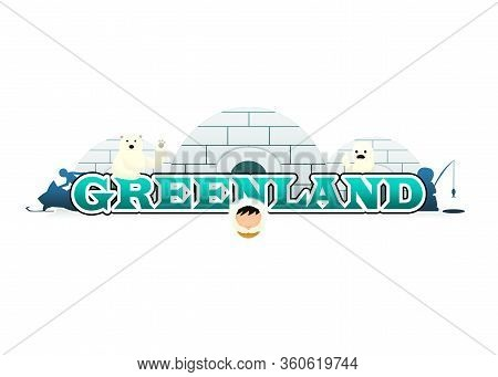 Logo Of Three Igloos With Ice Fishing Eskimo And Snowmobile With A Polar Bear, A White Harp Seal And