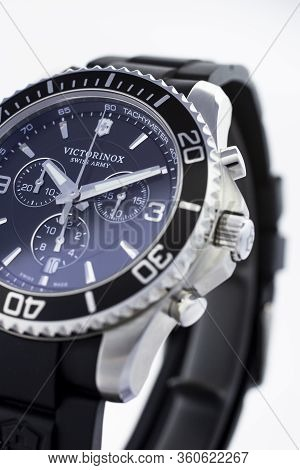 Ibach, Switzerland 31.03.2020 - The Close Up Of Victorinox Man Watch Stainless Steel Case Stainless