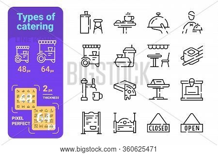 Set Types Of Catering Simple Lines Icons Of Fast, Restaurant. Concept Collection Modern Symbols For