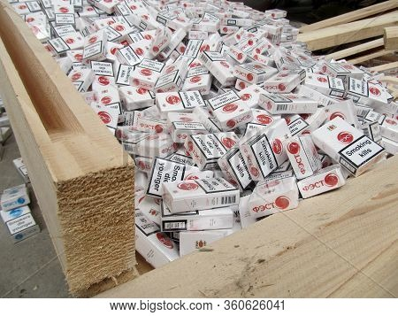 Krakovets, Ukraine - March, 2016: Smuggled Cigarettes Disguised As Industrial Wood  Were Found By Bo