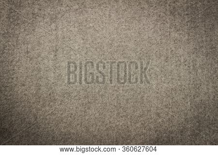 Gray Blanket Texture For Background With Black Vignette. Close-up Of Natural Warm Wool Coverlet, Wra