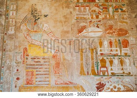 Chapel Of Anubis In The Mortuary Temple Of Queen Hatshepsut, Ancient Fresco Of The Jackal Headed God