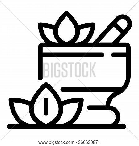 Bowl With Aromatic Herbs Icon. Outline Bowl With Aromatic Herbs Vector Icon For Web Design Isolated