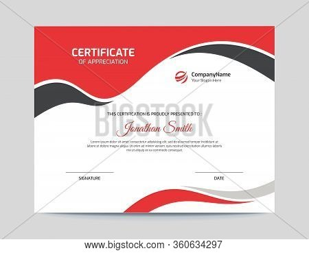 Red And Black Waves Certificate Design Letter Certificate Size With Bleed