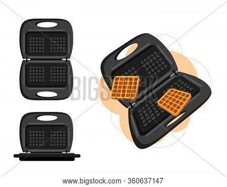 Waffle-iron For Waffles Tasty And Sweet Vector Graphics