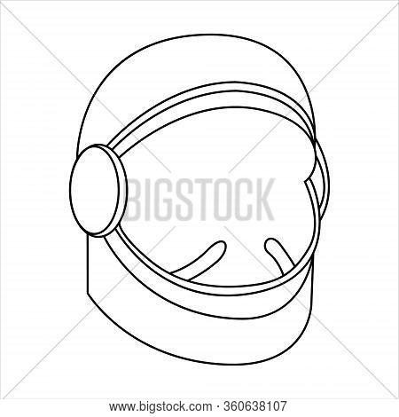 Vector Illustration Of An Astronaut In Space, Line Drawing, Astronaut Helmet, Vector